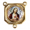 Medal with 3 Loops Sacred Heart Of Jesus Gold